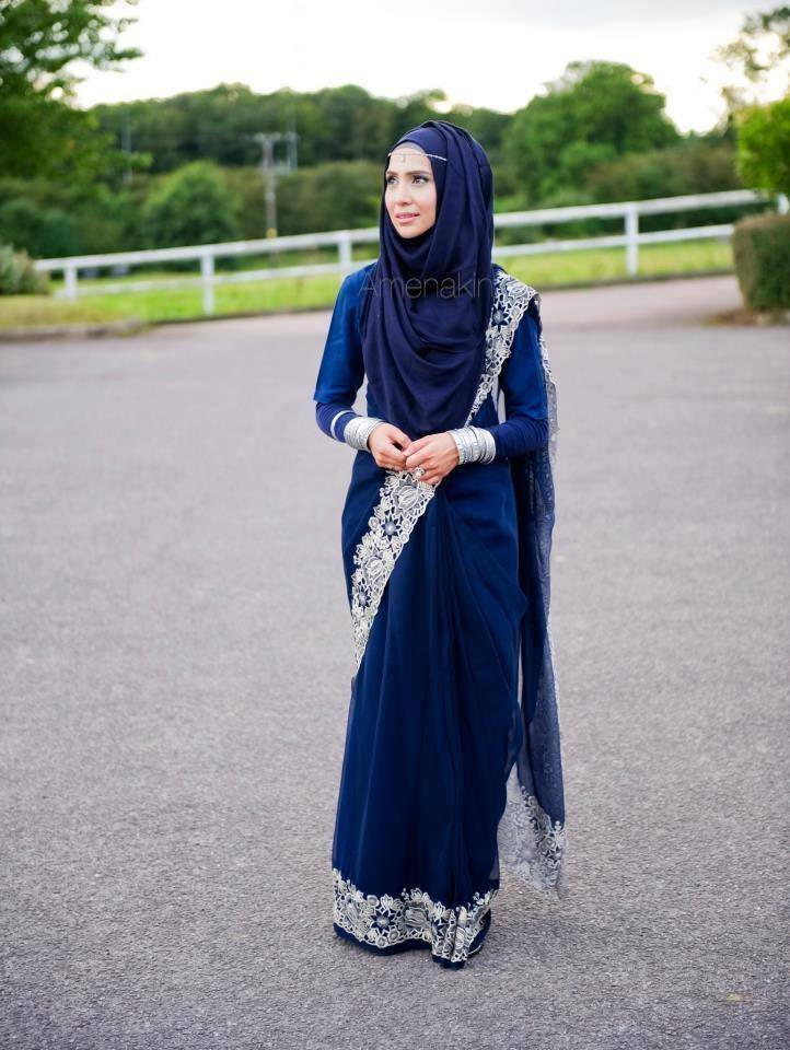 party wear hijab with saree latest style