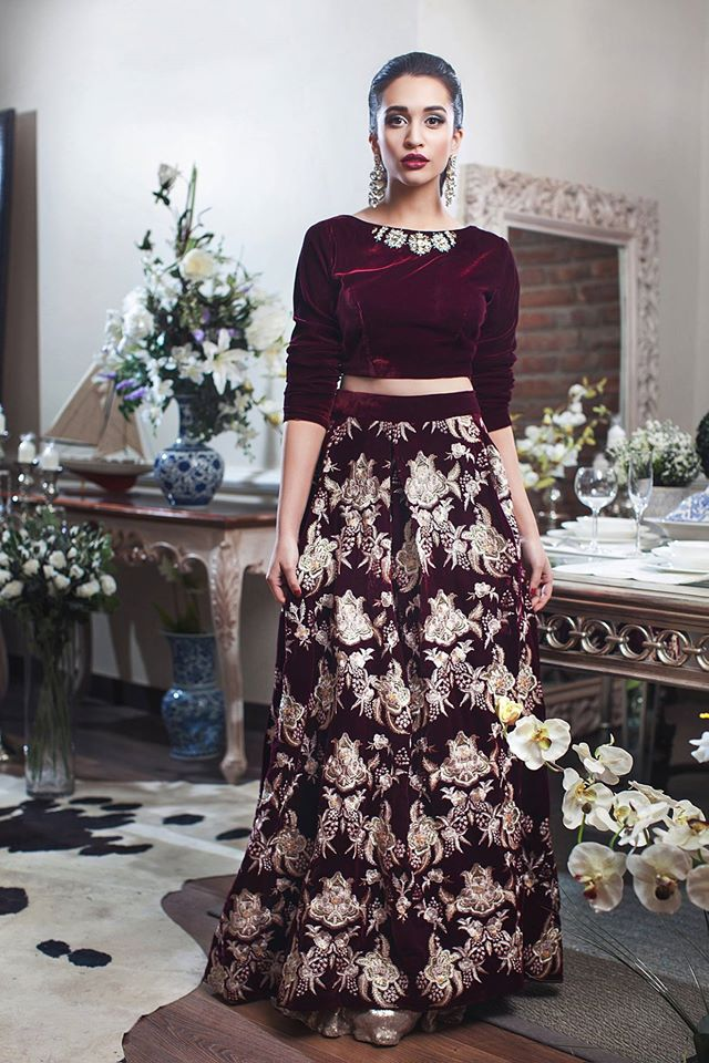 long winter party wear skirt design with crop top