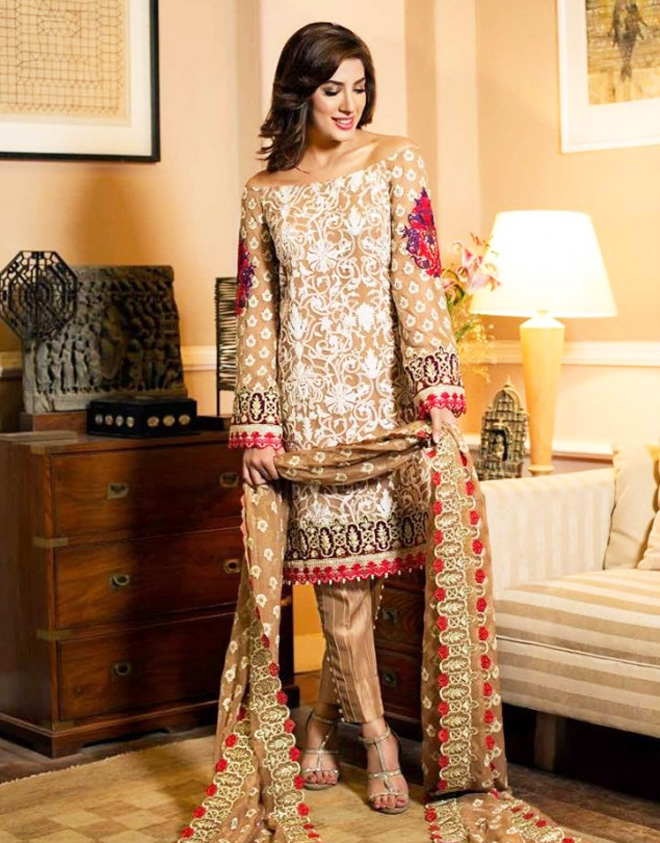 off-the-shoulder embroidered suit paired with straight trouser