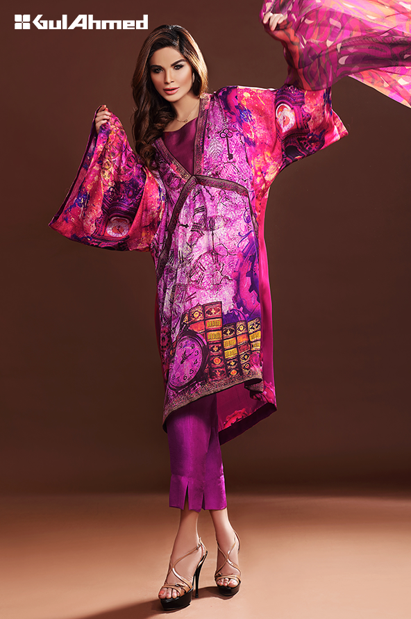 shocking pink silk tunic with cut trouser
