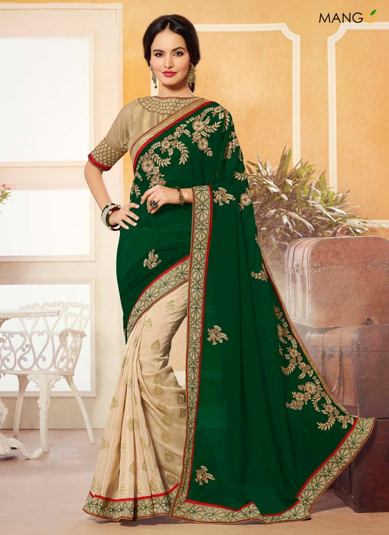 new winter party wear embroidered saree dress