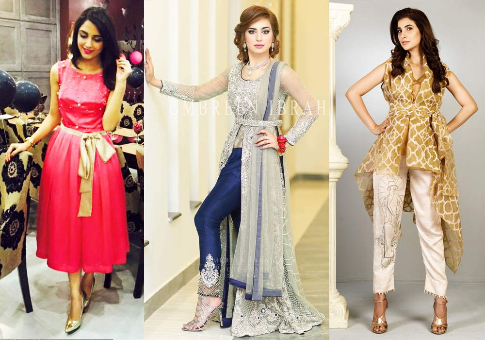Latest Party and Wedding Wear Pakistani Waist Belt Dresses 2017