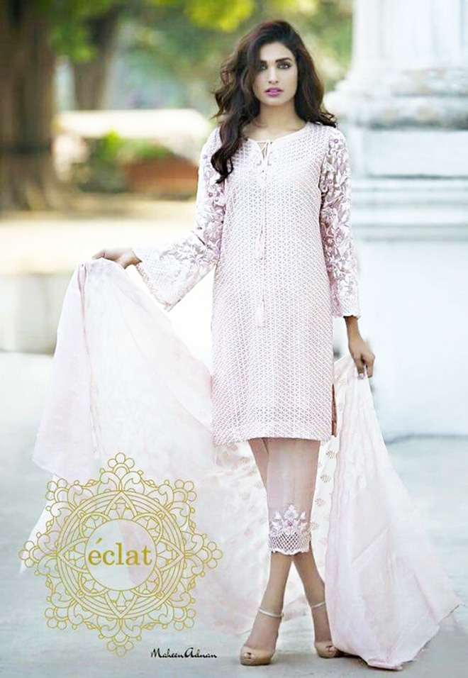 baby pink kurta with capri and dupatta