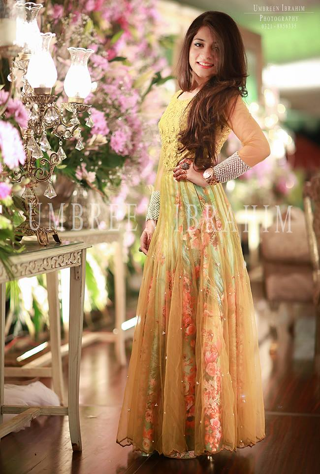 long bridal shower gown style frock having simple net gown