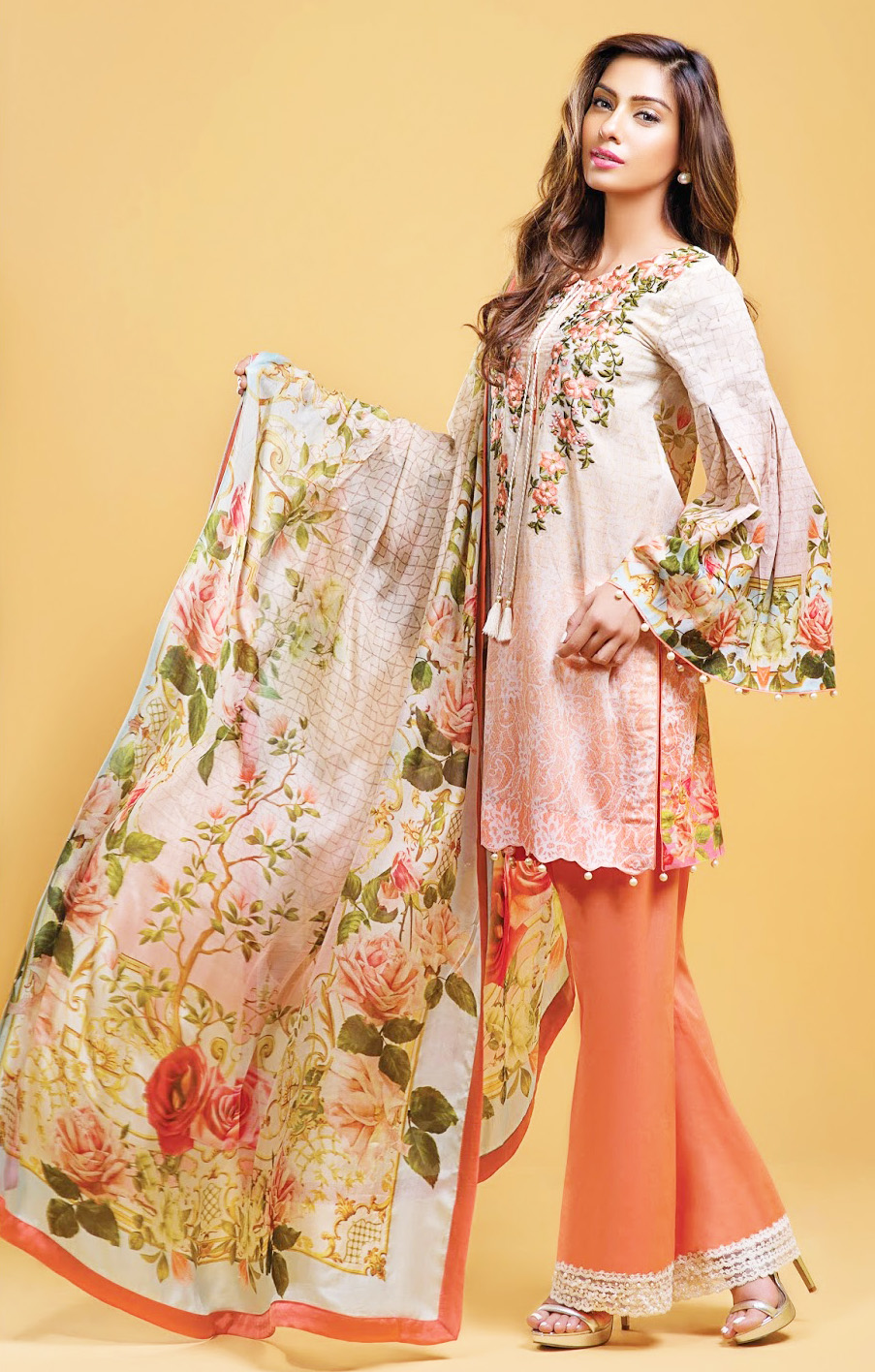 Pakistani casual wear dress with bell bottom pants