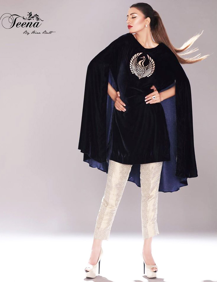 party wear velvet cape dress with capri