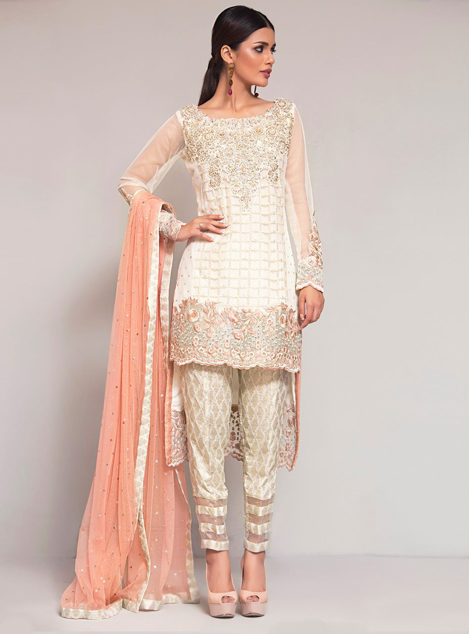 Peach and White formal dress by zainab chottani ready to wear
