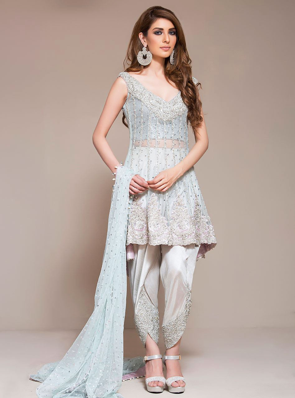 Ice Blue Peplum by zainab chottani ready to wear dress