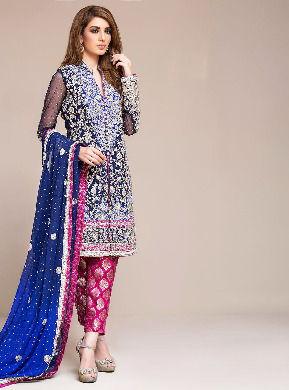 Royal blue dress by zainab chottani for formal wear