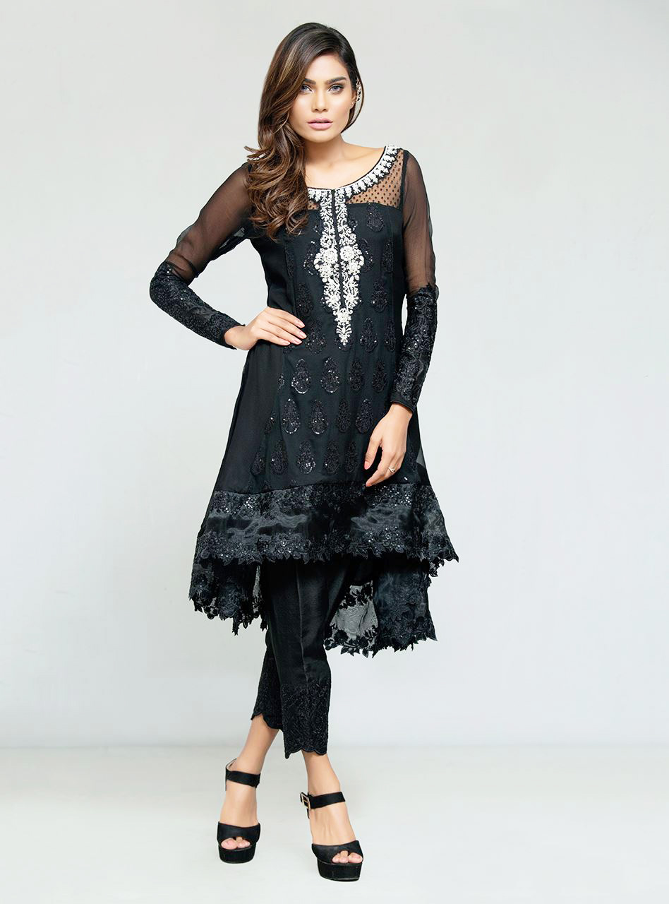 Black ready to wear dress by zainab chottani