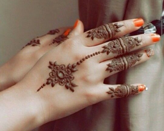 simple motif with filled fingers hand back mehndi design