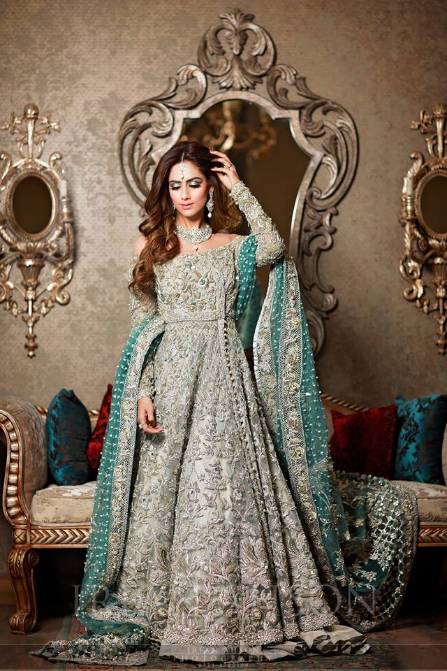 Dark Embroidered Grey Frock Walima Collection