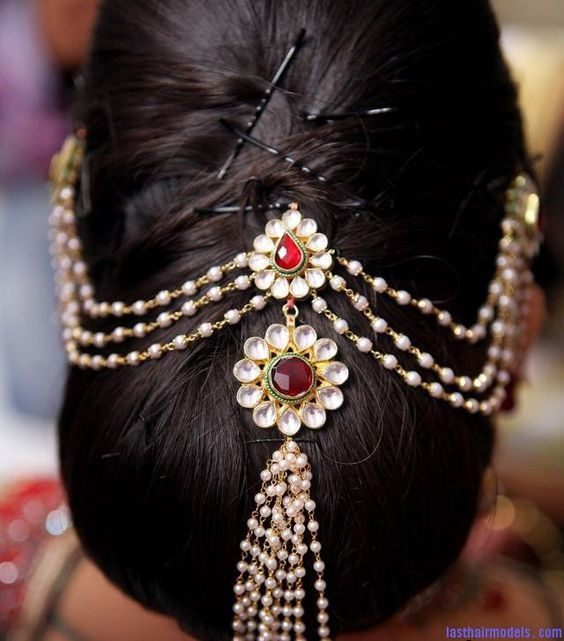 Jewelled Messy Bun Indian Wedding Hairstyle