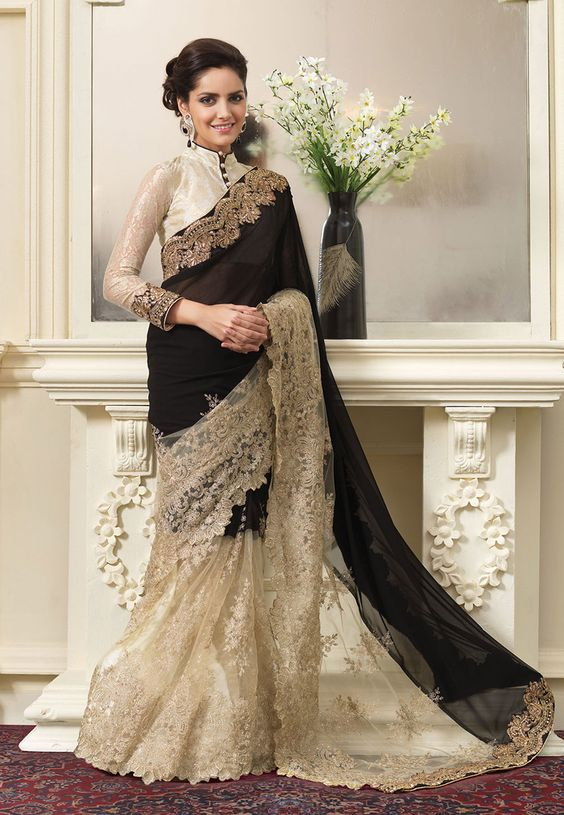 Black and Beige Georgette and Net Saree Walima Collection