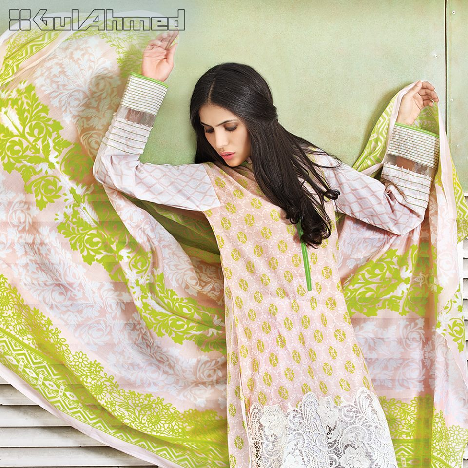 Mustard White Gul Ahmed Embroidered Lawn Collection