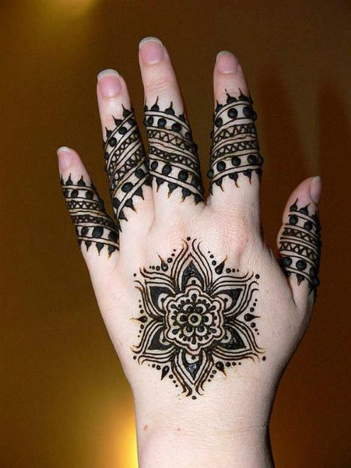 Backhand Floral tikki black Mehndi Design