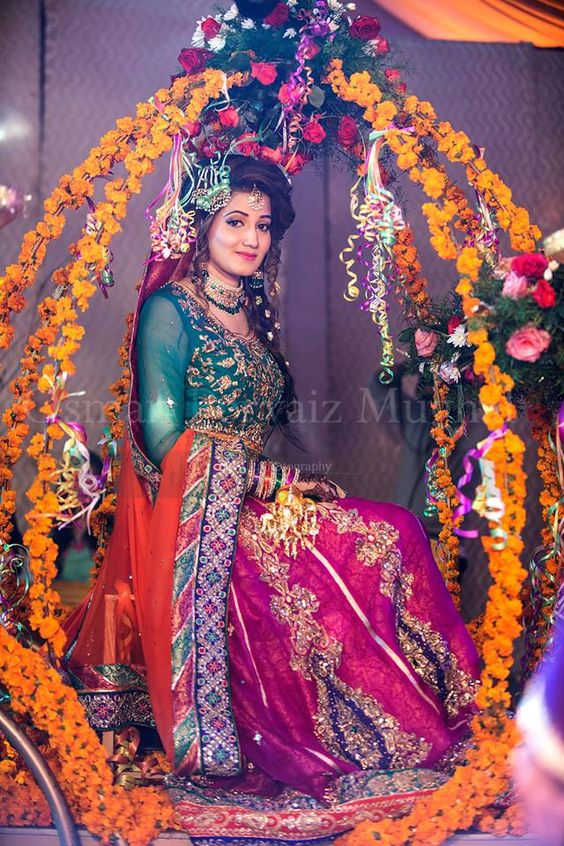 Dark Green with pinkish lehnga Mehndi Dresses