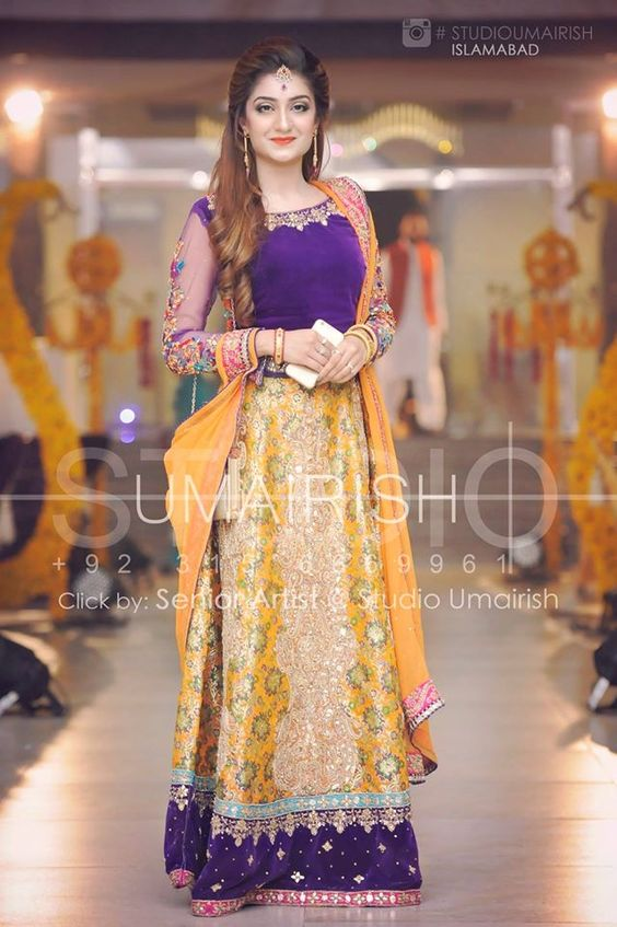 Lemon Yellow with Dark Blue Shirt Mehndi Dresses