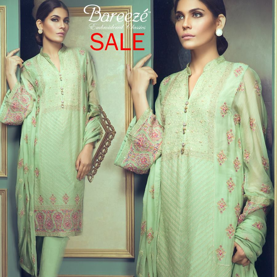 Aqua green Bareeze Embroiderd Collection 2017