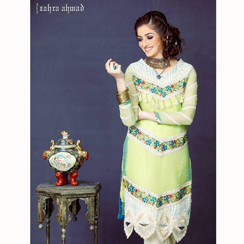 Lime Green Zahra ahmed Eid Collection 2017