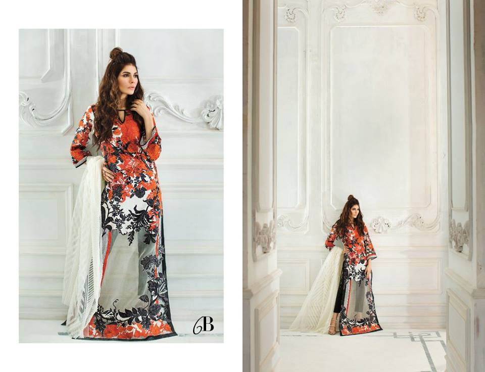 Vibrant Orange and Black Sana Safinaz Latest Collection 2017