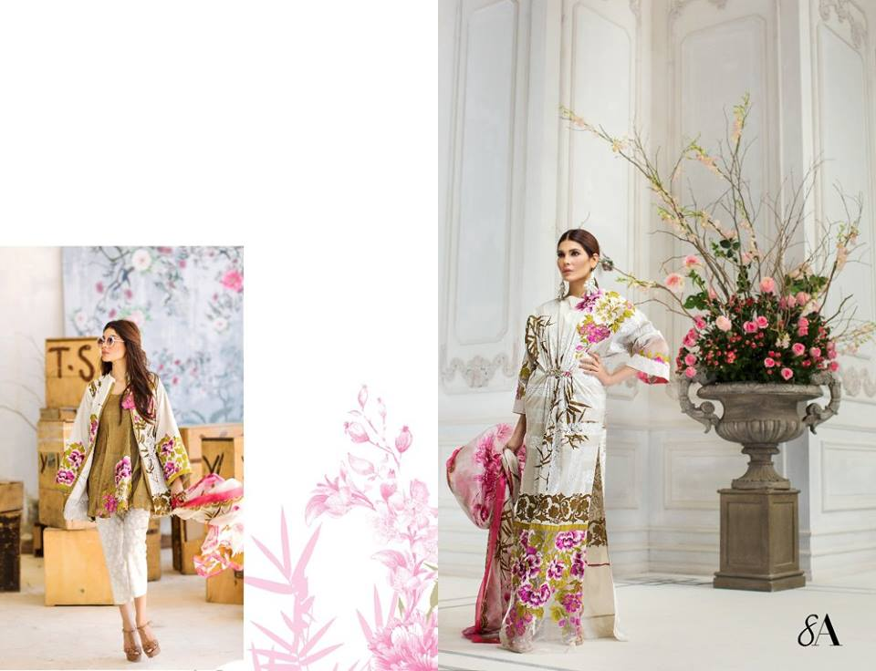 White Printed Kameez Sana Safinaz Latest Collection 2017