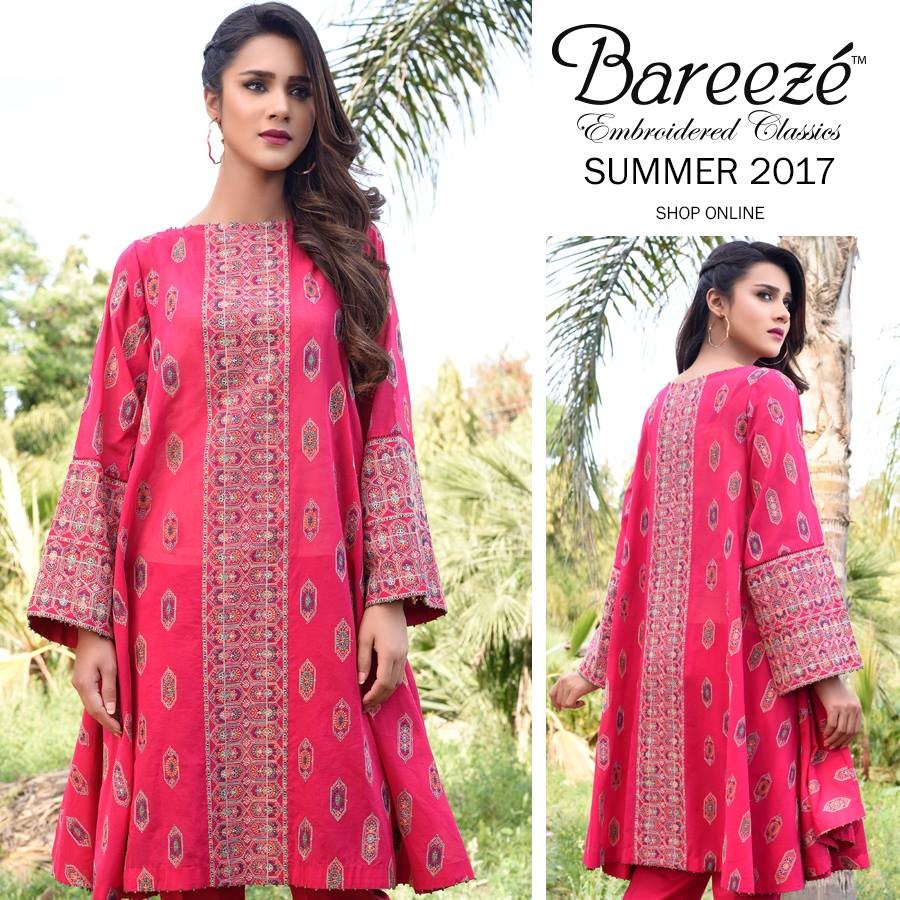 Rose Pink Bareeze Embroiderd Collection 2017