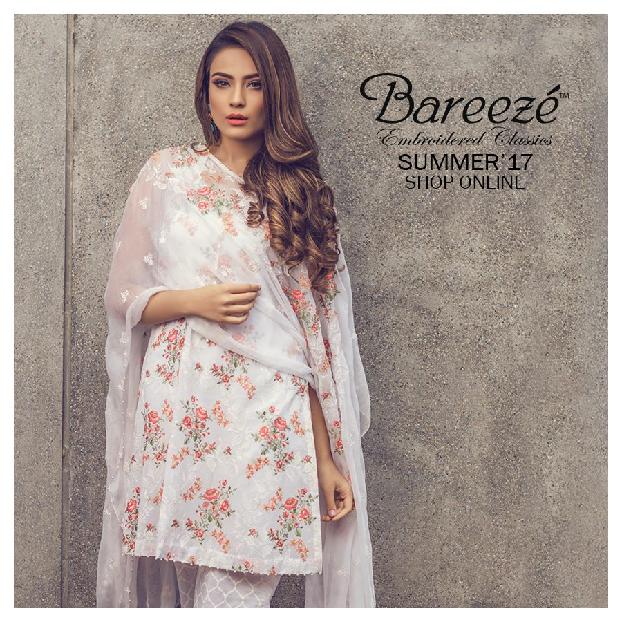 bareeze white embroidered three piece suit for eid