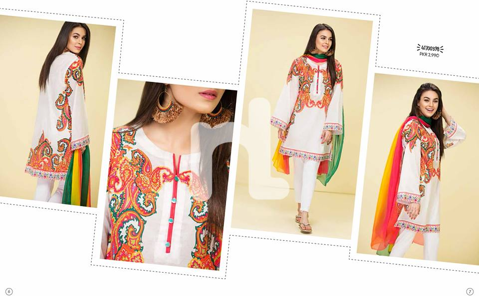 White Embroided Shirt Nishat linen Summer Collection 2017