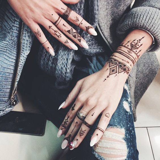 simple eid mehndi design for fingers