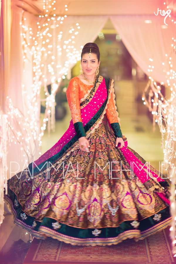 flared frock colorful bridal mehndi dress