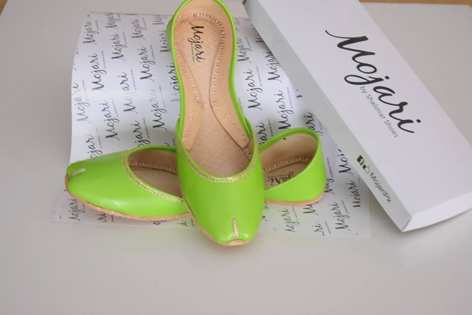 Mojari Ladies plain Parrot Green khussa