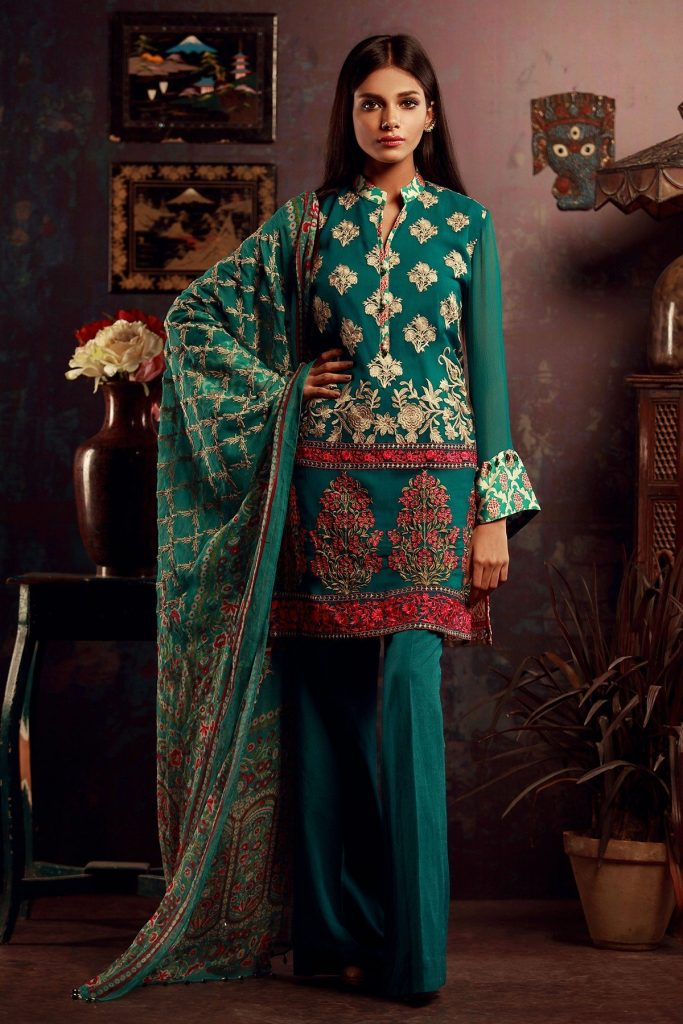 Sea green Khaadi Mid summer Collection 2017