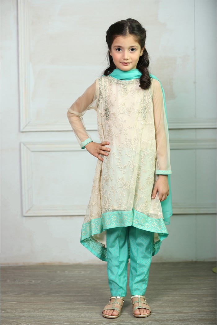 Tilla Embroidered Eid Dress By Maria.B For Kids 2016