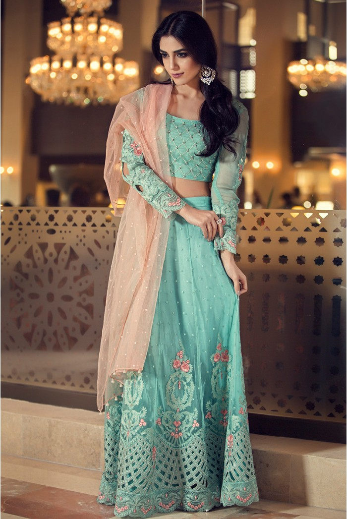 Maira B Mbroidered Fabric Aqua Dress By For Eid