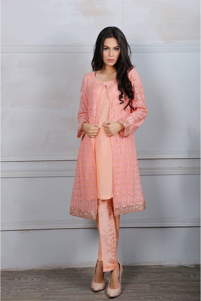 Maria B Peach Color Attire For Eid