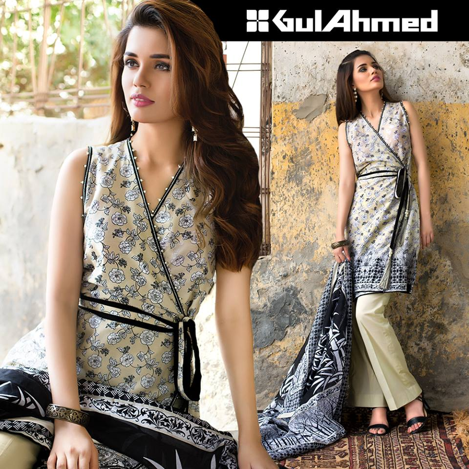 Off white and black dress by gul ahmed winter collection