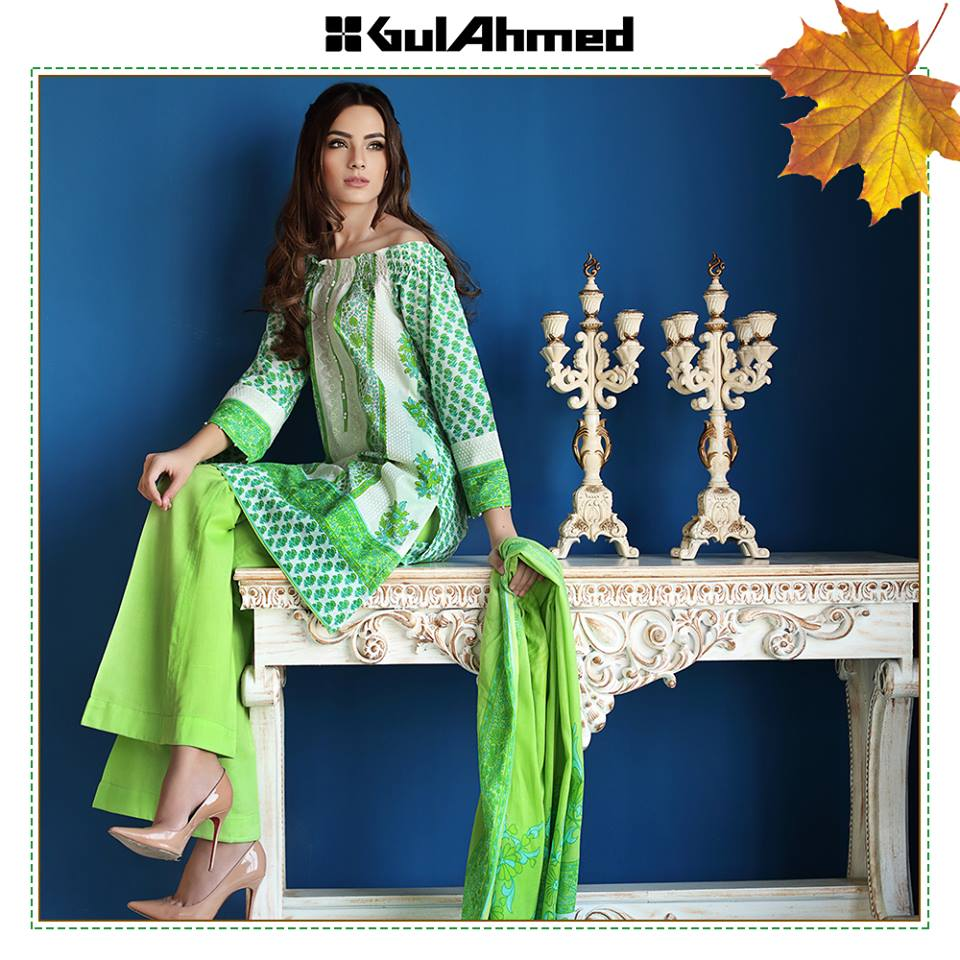 Green shaded dress by gul ahmed winter collection