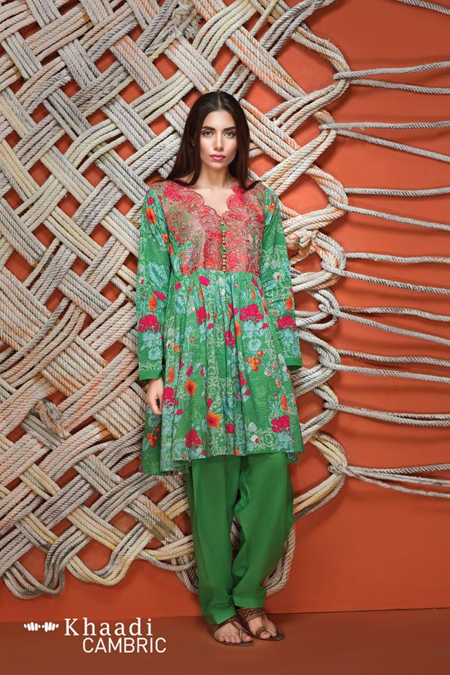 Bright green khaadi suit for winter wear