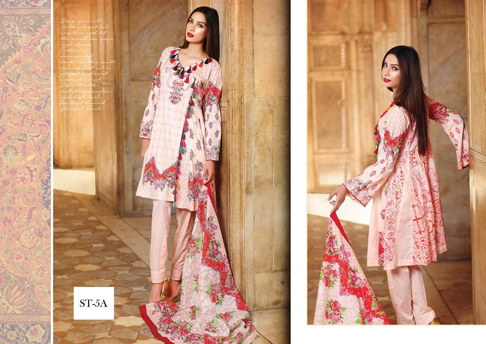 light pink and red suit by shariq textiles for winter collection