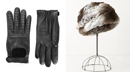 leather gloves & furry hat