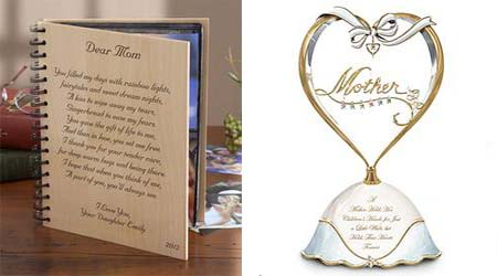 mother poem wood album & heart birthstone music box christmas gift