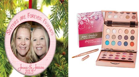 sisters xmas tree ornament & eye & lip palette