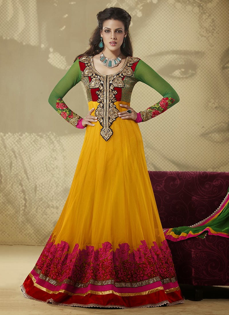 Indian and Pakistani Frock Designs Multi-Colored Long Footlength Frock for Mehndi