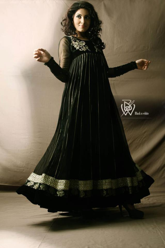 Indian and Pakistani Frock Designs Long Black Flared Frcok for Pakistani Girls