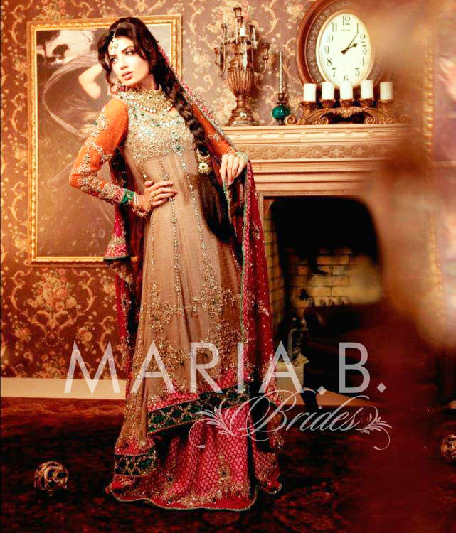 bridal mehndi dress for wedding by maria b
