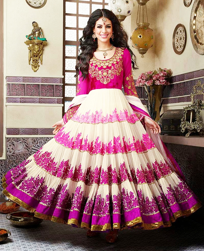 Indian and Pakistani Frock Designs -umbrella-frock-with-churidar-pajama