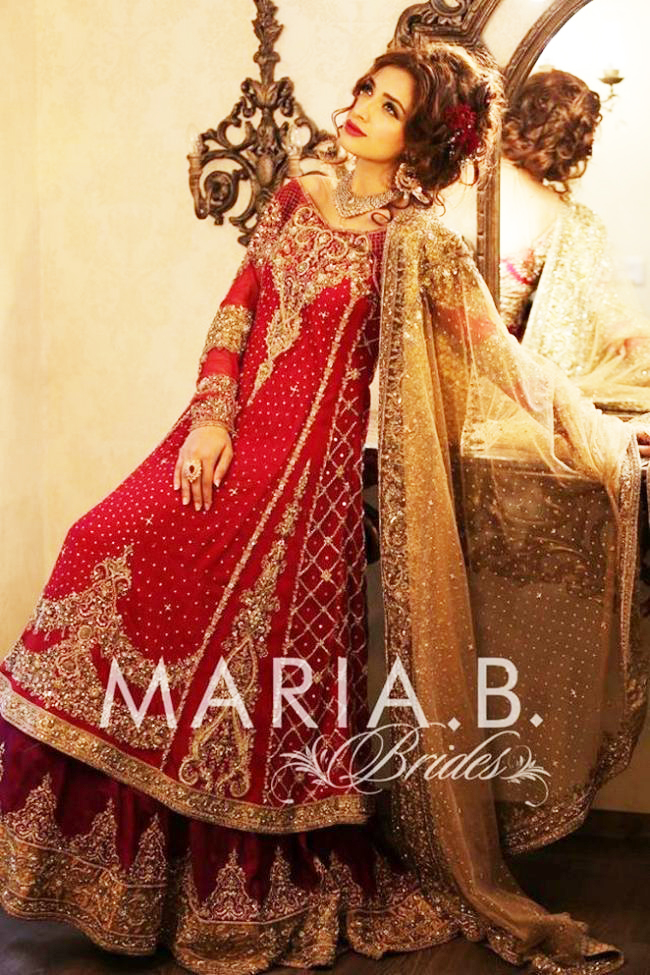 Maria b fancy red lehenga dress for wedding brides