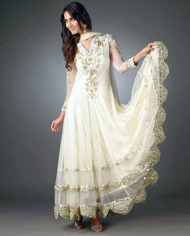 Indian and Pakistani Frock Designs new-style-long-white-frock