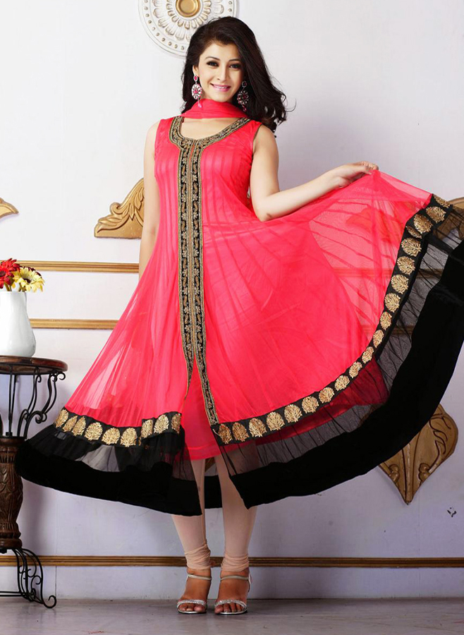 Indian and Pakistani Frock Designs off shoulder red-front-open-pakistani-frock-style-dress